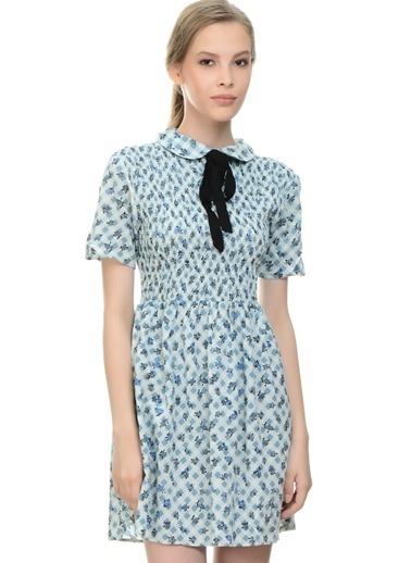 Motel Rocks Desenli Kloş Elbise Mavi